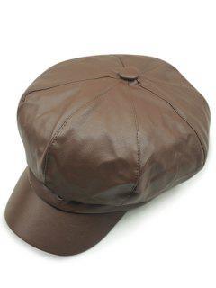 Monotonous PU Newsboy Hat - Coffee