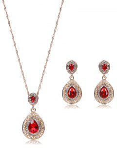 Teardrop Faux Ruby Jewelry Set - Red