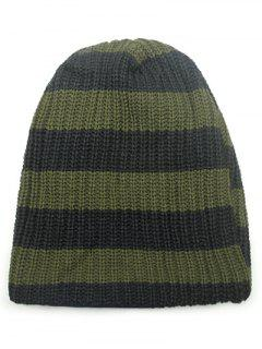 Casual Wide Stripe Knitted Hat - Army Green
