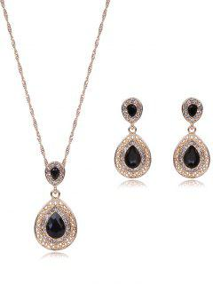 Rhinestone Teardrop Jewelry Set - Black