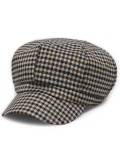 Small Checked Newsboy Hat - Brown
