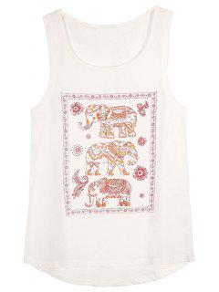 Elephant Pattern Sleeveless T-Shirt - White L