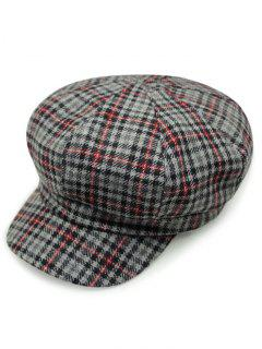 Houndstooth Gingham Newsboy Hat - Gray