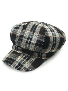 Dark Plaid Newsboy Hat - Black