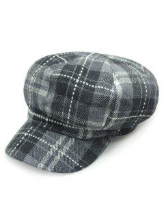 Plaid Dashed Line Newsboy Hat - Gray