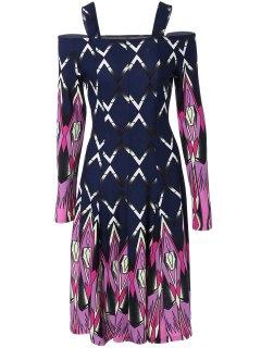Robe Mi-longue à épaules Nues - Bleu Violet M