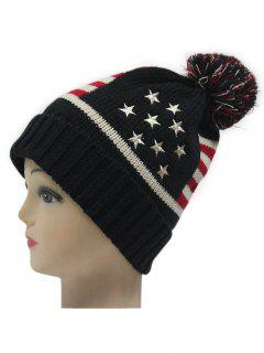 Small Ball American Flag Knitted Hat - Black