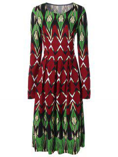 Long Sleeve Printed Swing Dress - M
