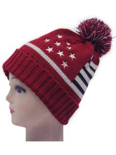 Small Ball American Flag Knitted Hat - Red