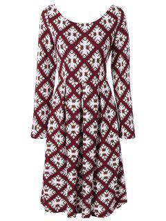 Scoop Neck Long Sleeve Flared Dress - M