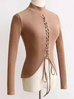 Reversible Lace Up Knitwear - Apricot S