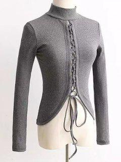 Reversible Lace Up Knitwear - Gray S