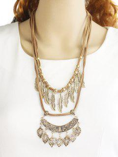 Vintage Alloy Feather Tree Leaf Layered Necklace - Golden