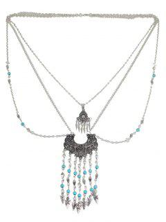 Faux Turquoise Water Drop Bohemian Necklace - Silver