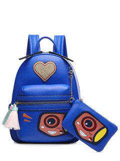 Heart Pattern Tassels Color Splicing Backpack - Blue