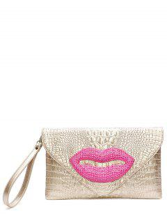 Lip Pattern Embossing Magnetic Closure Clutch Bag - Champagne Gold