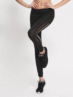Mesh Panel Active Running Leggings - White And Black Xl
