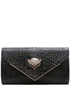 Rhinestones Embossing PU Leather Evening Bag - Black
