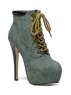 Platform Stiletto Heel Lace-Up Ankle Boots - Blackish Green 37