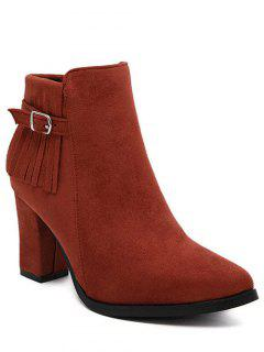Fringe Pointed Toe Chunky Heel Ankle Boots - Red 38
