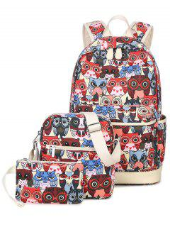 Owl Pattern Canvas Color Block Backpack - Red