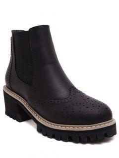 Vintage Engraving Chunky Heel Boots - Black 39