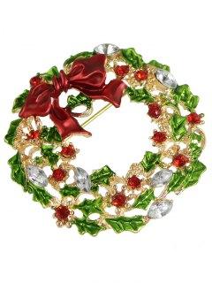 Enamel Bows Rhinestone Christmas Brooch - Golden