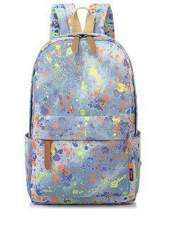Canvas Zippers Color Splicing Backpack - Light Blue