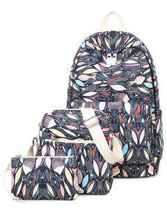 Fish Print Zippers Color Block Backpack - Black
