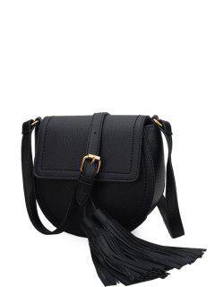 Tassels Covered Closure PU Leather Crossbody Bag - Black