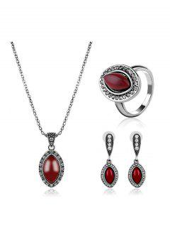 Faux Ruby Oval Rhinestone Jewelry Set - Red One-size