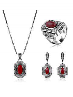 Rhinestone Faux Ruby Geometric Jewelry Set - Red One-size