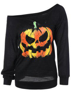 Skew Neck Pumpkin Sweatshirt - Black S