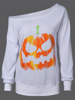 Skew Neck Pumpkin Sweatshirt - White Xl