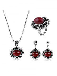 Etched Flower Faux Ruby Jewelry Set - Red One-size