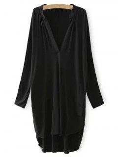 High Low Plunging Neck Dress - Black L
