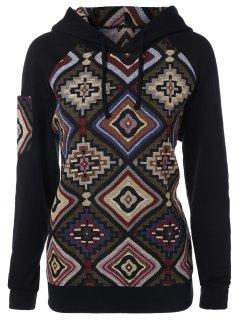 Geometric Pattern Pullover Hoodie - M