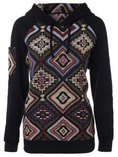 Geometric Pattern Pullover Hoodie - Xl