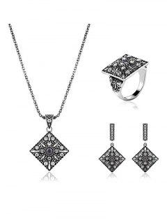 Vintage Alloy Geometric Rhinestone Jewelry Set - Silver One-size