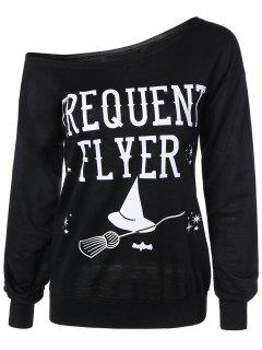 Letter Skew Neck Sweatshirt - Black M