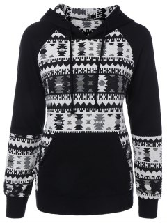 Sweatshirt à Capuche Imprimé En Jacquard Avec Poche Avant - Blanc Et Noir M