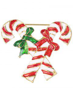 Alloy Bows Candy Cane Christmas Brooch - Golden