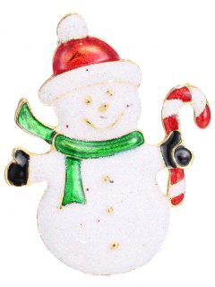Alloy Christmas Candy Cane Snowman Brooch - White