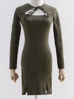 Cut Out Long Sleeve Slit Dress - Army Green M