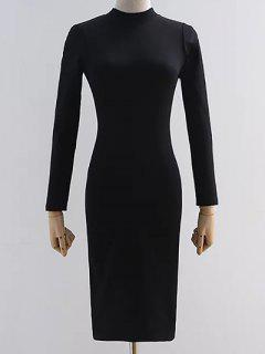 Back Cutout Pencil Dress - Black S