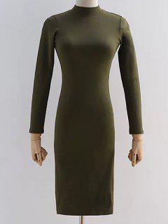 Back Ausschnitt Pencil Dress - Bundeswehrgrün S