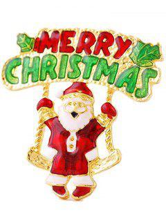 Santa Tree Leaf Merry Christmas Brooch - Golden