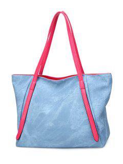 PU Leather Stitching Zip Shoulder Bag - Light Blue