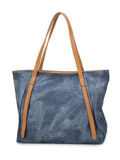 PU Leather Stitching Zip Shoulder Bag - Grey Blue