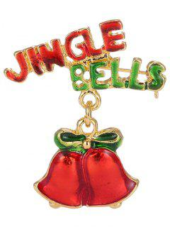 Alloy Bows Christmas Jingle Bells Brooch - Golden